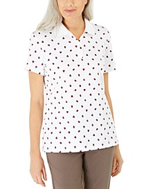 Petite Ladybug-Print Polo Top, Created for Macy's