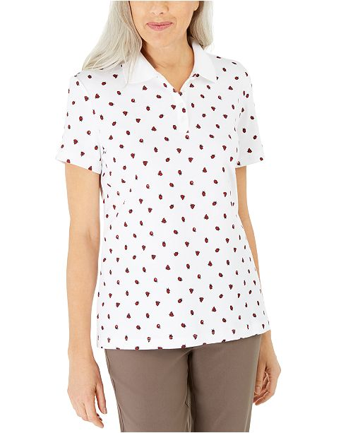 Karen Scott Petite Ladybug-Print Polo Top, Created For Macy's