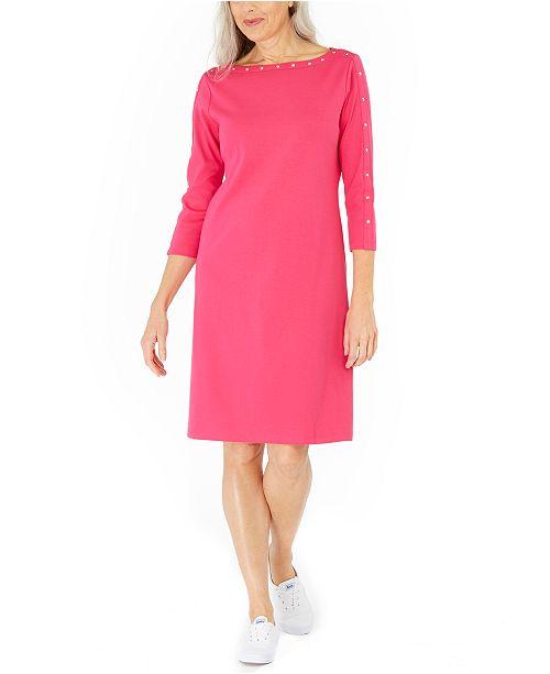 Karen Scott Petite Cotton Studded Swing Dress, Created For Macy's