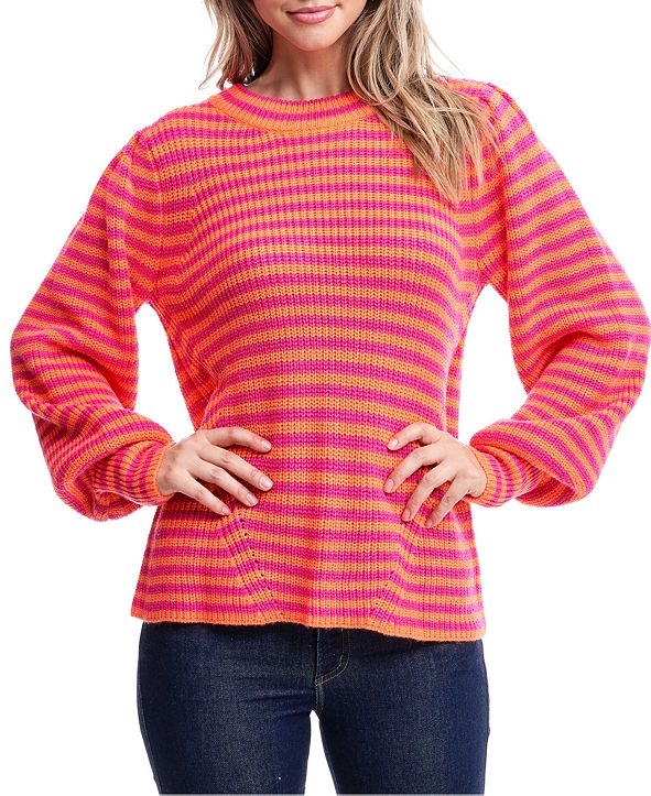 Fever Striped Mock-Neck Sweater