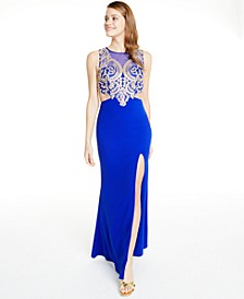 Juniors' Embellished Cutout Gown