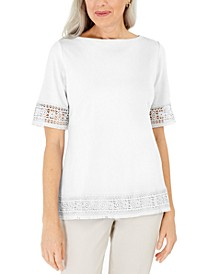 Cotton Crochet Fringed Top, Created for Macy's