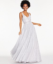 Juniors' Embellished-Waist Glitter Gown, Created For Macy's