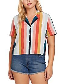 Juniors' Printed Cropped Shirt