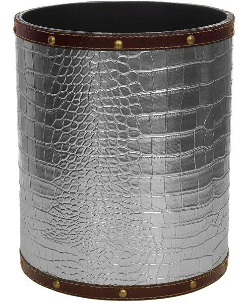 Red Lantern Silver Faux Leather Waste Basket