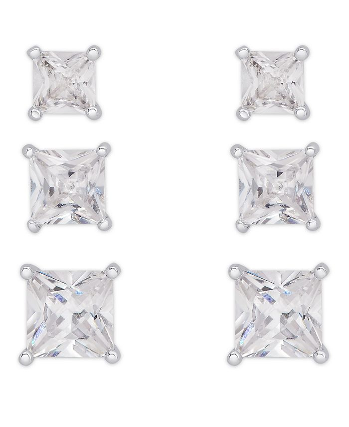 Macy's - Cubic Zirconia 3-Pc. Set Graduated Round Stud Earrings in Fine Silver Plate