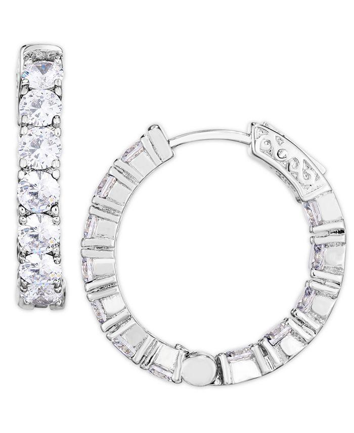 Macy's - Cubic Zirconia Medium Hoop Earrings in Fine Silver Plate