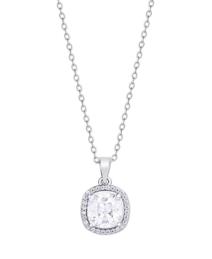 Macy's - Cubic Zirconia Cushion Pendant Necklace in Fine Silver Plate