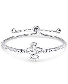Cubic Zirconia Angel Adjustable Slider Bolo Bracelet in Fine Silver Plate