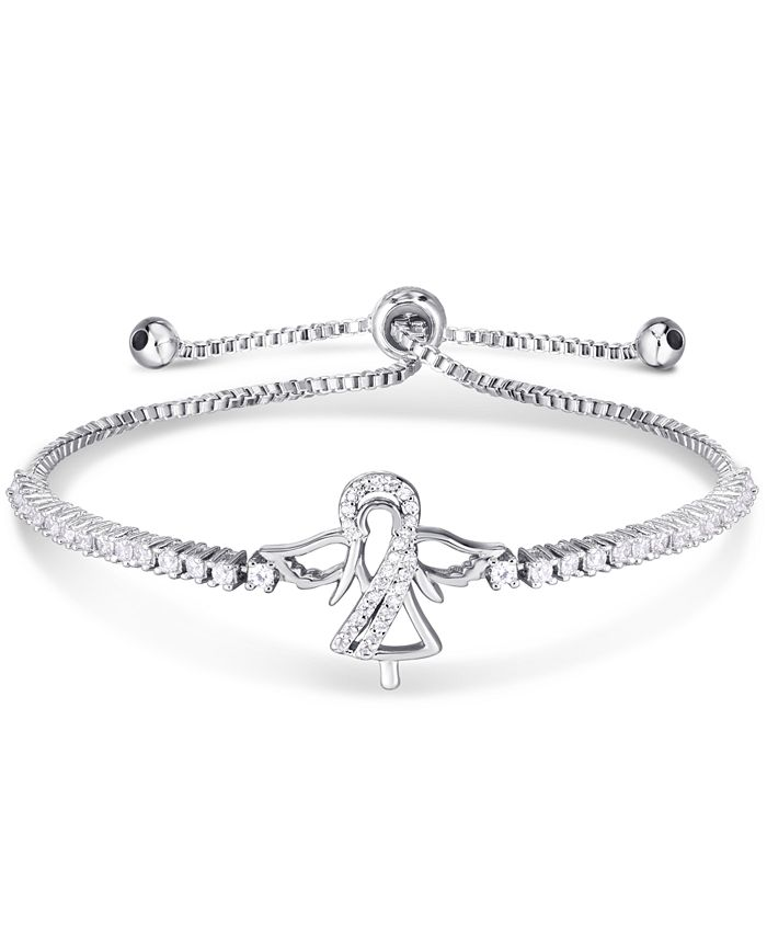 Macy's - Cubic Zirconia Angel Adjustable Slider Bolo Bracelet in Fine Silver Plate