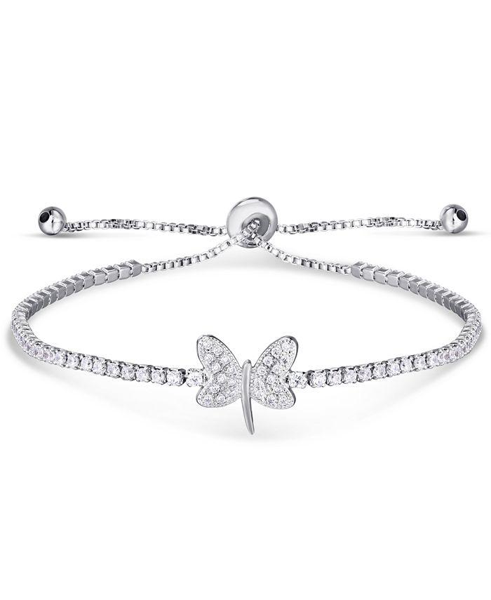 Macy's - Cubic Zirconia Dragonfly Adjustable Slider Bolo Bracelet in Fine Silver Plate