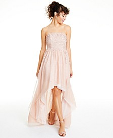 Juniors' Embroidered Strapless Gown, Created for Macy's