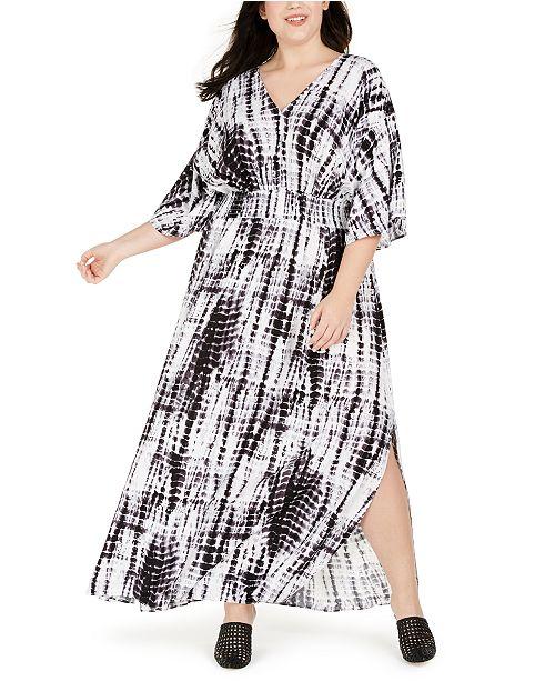 INC Plus Size Tie Dye Kimono-Sleeve Maxi Dress, Created for Macy\'s