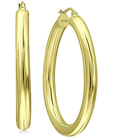 "Medium Polished Tube Hoop Earrings in 18k Gold-Plated Sterling Silver, 1.57"", Created for Macy's"