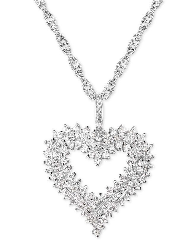 "Macy's Diamond Heart 18"" Pendant Necklace (1 ct. t.w.) in 10k White Gold"