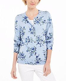 Karen Scott Floral-Print Button Cardigan, Created for Macy's