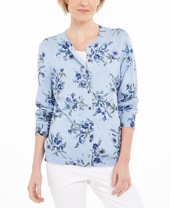 Karen Scott Floral-Print Button Cardigan, Created for Macy's
