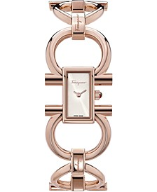 Women's  Swiss Double Gancini Rose Gold Ion-Plated Bracelet Watch 14x24mm