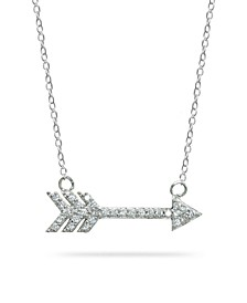 Cubic Zirconia Arrow Necklace in 18k Gold Plated Sterling Silver or Sterling Silver