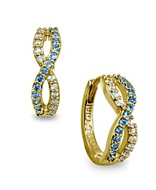 White and Blue Cubic Zirconia Infinity Huggie Hoop Earrings in 18k Gold Over Sterling Silver