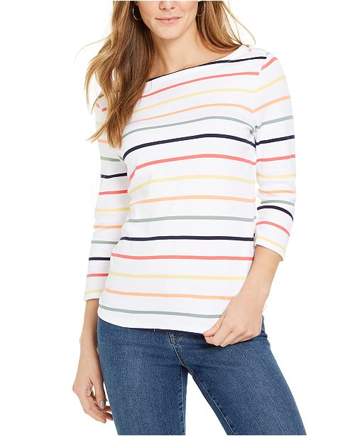 Charter Club Pima Cotton Striped Boat-Neck Top, Created for Macy's