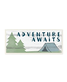 """The Kids Room by Stupell Adventure Awaits Camping Scene with Trees Planked Look Sign Wall Plaque Art, 7"""" L x 17"""" H"""