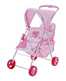 Love Heart Pretend Play Twin Baby Dolls Stroller