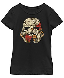 Star Wars Big Girl's Stormtrooper Black White Plaid Faced Short Sleeve T-Shirt