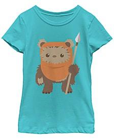 Star Wars Big Girl's Wicket Ewok Chibi Kawaii Cute Short Sleeve T-Shirt