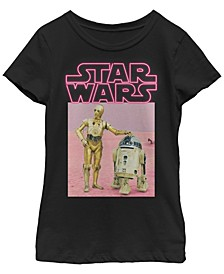 Star Wars Big Girl's Neon Two Droids Poster Short Sleeve T-Shirt