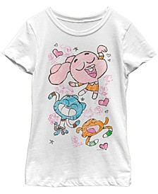 Cartoon Network Big Girl's Gumball Darwin Anais Doodle Dance Short Sleeve T-Shirt