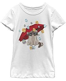 Grumpy Cat Big Girl's Raining Eggs Short Sleeve T-Shirt