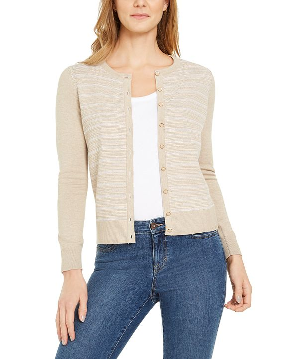 Charter Club Button-Down Textured Stitch Cardigan Sweater, Created for Macy's