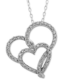 "Diamond Double Heart Pendant Necklace (1/2 ct. t.w.) in 14k White Gold, 16"" + 2"" extender"