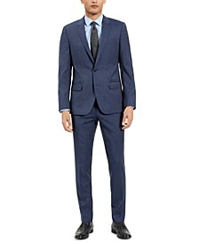 Men's Slim-Fit Blue Check Suit Separates, Created for Macy's