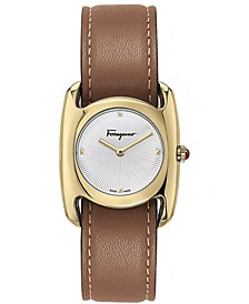 Women's Swiss Vara  Brown Leather Strap Watch 28x34mm