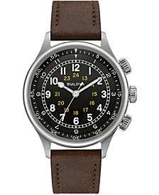 Men's Automatic Military Brown Leather Strap Watch 42mm
