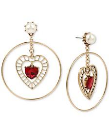 Gold-Tone Crystal & Imitation Pearl Openwork Heart Orbital Drop Earrings