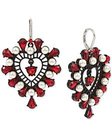 Two-Tone Crystal & Imitation Pearl Openwork Heart Drop Earrings