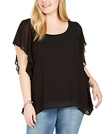 Plus Size Ruffle-Trim Handkerchief-Hem Top