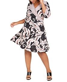 Plus Size Paisley-Print Wrap Dress