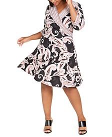 Plus Size Paisley-Print Wrap Dress