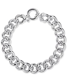 Heavy Curb Link Chain Bracelet in Sterling Silver, Created for Macy's