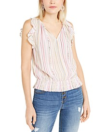 INC Striped Smocked Top, Created For Macy's