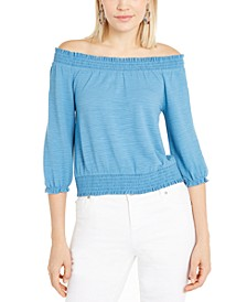 INC Smocked Peasant Top, Created for Macy's