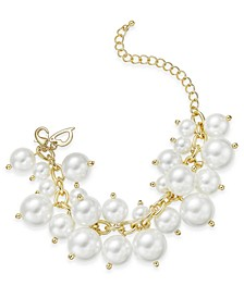 Gold-Tone Shaky Imitation Pearl Link Bracelet, Created for Macy's