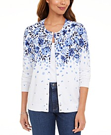 Petite Porcelain Cascade Printed Cardigan, Created for Macy's