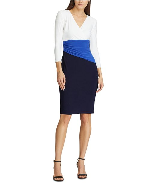 Lauren Ralph Lauren Color-Blocked Jersey Dress, Created for Macy's