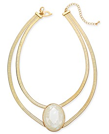 "Gold-Tone Stone Double-Row Herringbone Statement Necklace, 16"" + 3"" extender, Created for Macy's"