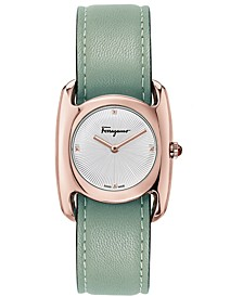 Women's Swiss Vara Green Leather Strap Watch 28x34mm